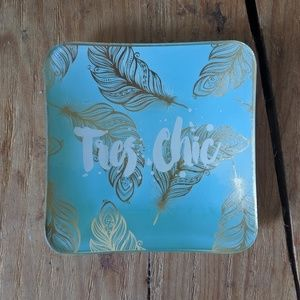 Blue 'Tres Chic' Decorative Plate w/Gold Accents